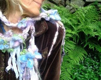 scarf lariat fantasy fiber art yarn braid garland scarf adornment - soft mists fantasy garden