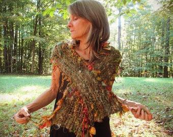 hand knit scarf softest handspun art yarn alpaca  boho scarf - autumn leaves story folktale scarf
