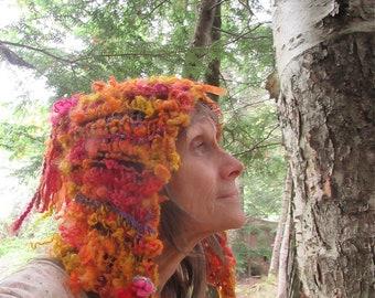 hand knit hat wool art yarn fantasy hood -  autumn campsite enchanted forest dream bonnet