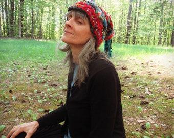 patchwork thinking cap hand knit art yarn beaded silk - enchanted forest dweller hat