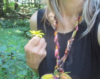 needle felted sparkling autumn leaves art yarn necklace