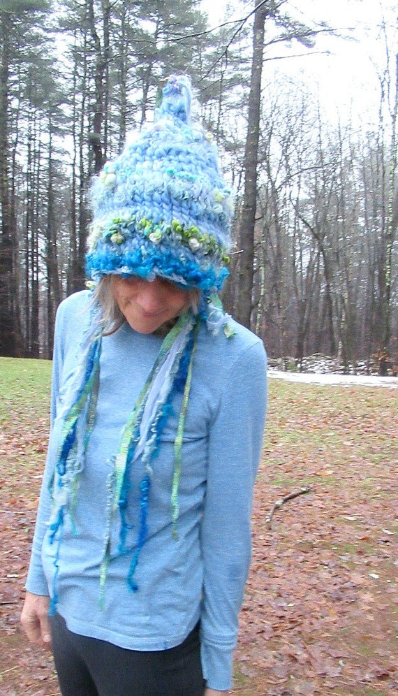 c252823d6 hand knit slouchy hat puffy curls soft art yarn fairy fantasy hat - blue  garden fairy dream hat