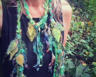 leaf scarf forest fantasy fiber art yarn braid adornment - lady of enchanted leaves