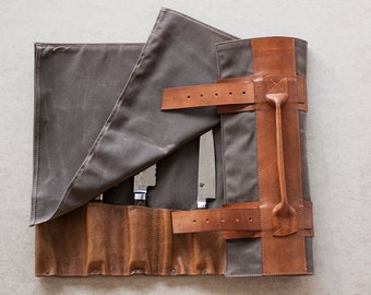 cb2e8bf84e82 Waxed Canvas   Hand Dyed Leather Chef s Roll