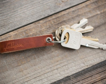 English Tan Leather Key Fob // FREE Personalization