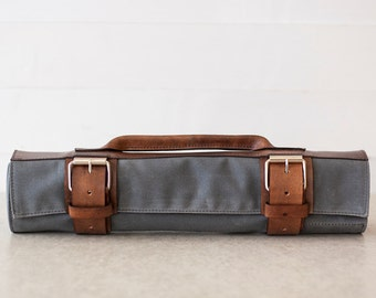 9152e1b9dc07 Waxed Canvas   Leather Chef s Roll    waxed knife roll by fullgive in grey  and bison