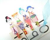 Clothespins, decorated, photo display, art display, kokeshi dolls