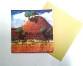 California Hills note card, original design, greeting card, blank card