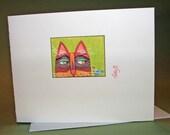 Cat Note Card Cat with Brave Bird Original Design Illustration