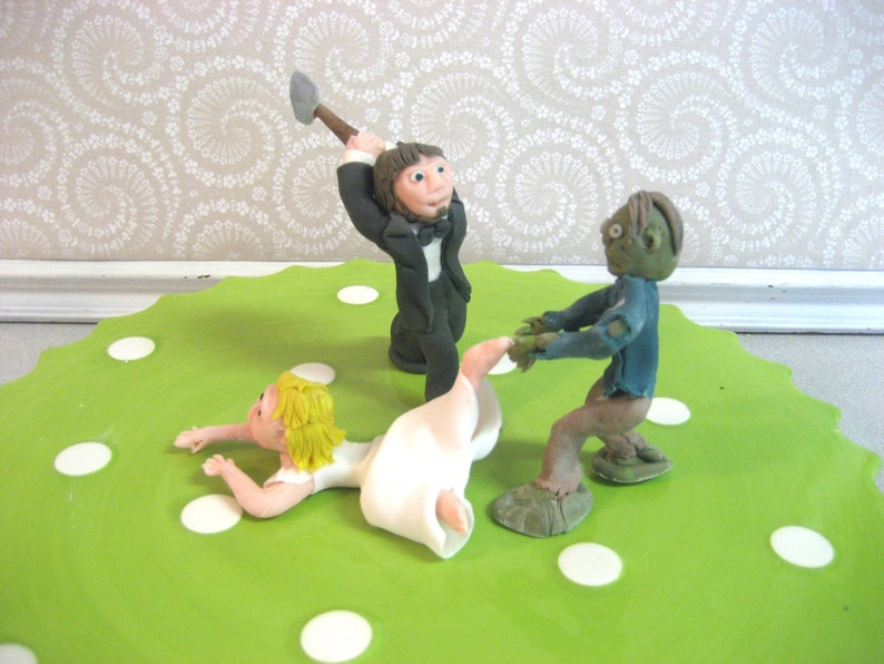 ZOMBIE Wedding Cake Topper Custom Zombies Made To Order