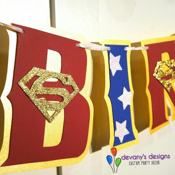 Supergirl Birthday Banner Party Superman HAPPY BIRTHDAY Custom Supermann