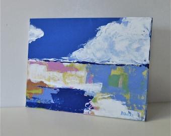 "Small Landscape painting, 7"" x 5, Abstract paintings, Original acrylic landscape art canvas, minimal art wall decor, modern art wall hanging"