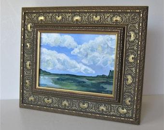 "Original framed Impressionist landscape painting on canvas, 11"" x 9"", acrylic landscape canvas, Expressionist, Impressionist, tabletop art"