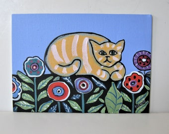"""Original Tabby cat with flowers painting, 7"""" x 5"""", acrylic kitty art canvas, original cat art, whimsical wall décor, Brooke Howie, gift idea"""