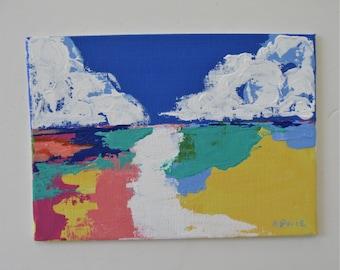"Small original Landscape painting, 7"" x 5, Abstract paintings, acrylic landscape art canvas, minimal art wall decor, modern art wall hanging"