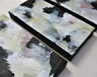 """Set of 3 original acrylic abstract paintings, 6"""" x 12"""" each, contemporary wall hangings, triptych wall decor, small art canvas, gift idea"""