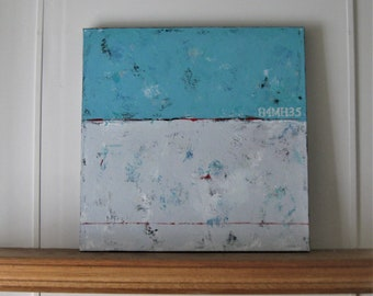 """Original Turquoise Abstract painting canvas, 24"""" x 24"""", shabby beach cottage Wall décor, stencil numbers, nautical wall hanging, gift idea"""