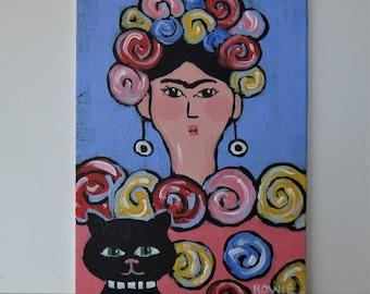 "Frida Khalo and black cat  portrait, Original acrylic painting, 5"" x 7"", whimsical wall decor, small art canvas, Boho style wall hanging"