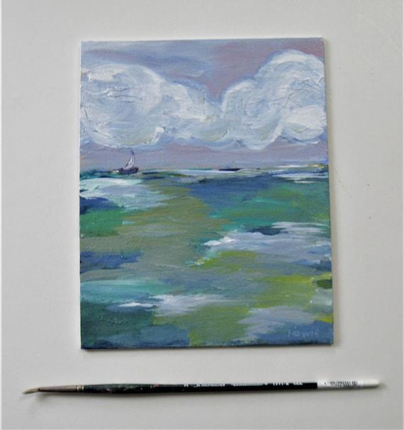 white framed original Impressionist art small art canvas 10 x 8 Nautical Ocean art Beach Cottage d\u00e9cor gift Acrylic Seascape Painting
