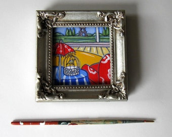 """Original Eiffel Tower Painting, small art canvas, Eiffel Tower, 4"""" x 4"""", Framed Mini Painting, Birdcage, French Country art, Landscape, gift"""