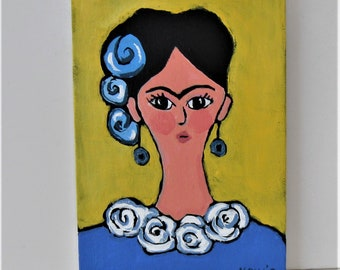 """Original portrait painting, 5"""" x 7"""", whimsical Frida Khalo, small art canvas, Frida art, blue and white, bright Mexican style art, gift"""