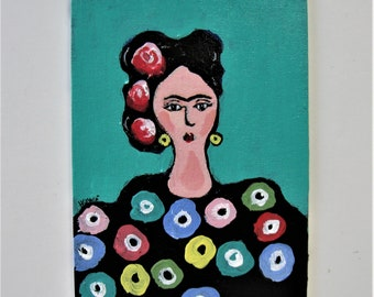 """Original acrylic Frida Kahlo painting, 5"""" x 7"""", canvas panal, small whimsical art, wall decor, turquoise wall hanging, portrait,  gift idea"""