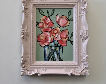 """Ornate Pink framed acrylic roses painting, 8"""" x 10"""", original pink roses art canvas, still life wall hanging, small wall gallery decor, gift"""
