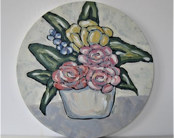 """Acrylic still life painting, round floral art canvas, 12"""" diameter, Shabby cottage wall décor, original roses and tulip art, wall hanging"""