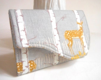 Business Card Case in Dove Gray and Mustard Yellow Deer Print - Woodland