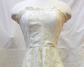"1950s, 32"" bust, white cotton eyelet dress."