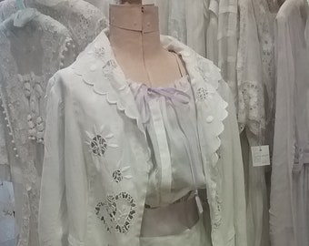 "1910, 3"" bust, two piece white linen hand embroidered cut work Edwardian linen promenade suit."