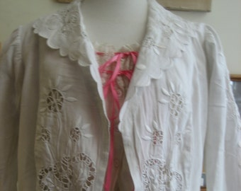 "1910, 3"" bust, two piece white linen hand embroidered cut work Edwardian wedding suit."