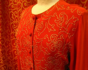 "1940's, 38"" bust, red crepe embroidered long sleeved top"
