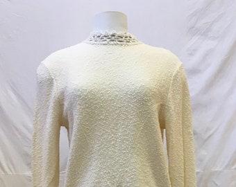 "1960s, 36"" bust, 2 piece cream colored Italian knit ensemble"