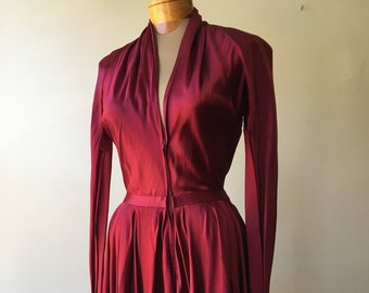 "circa 1940s, 34""bust, pure silk satin, ruby red Christian Dior dinner dress"