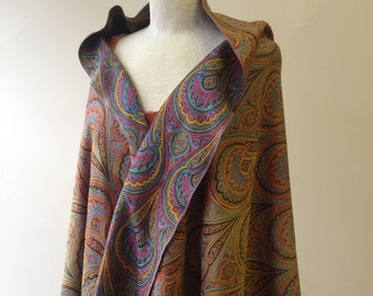 "1980's, 87""x33"", silk/wool paisley shawl with  fringe"