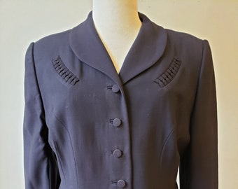 """1950s, 36"""" bust, navy blue rayon crepe lady's jacket."""