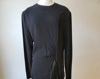 "1940s, 40"" bust, black rayon crepe dress"