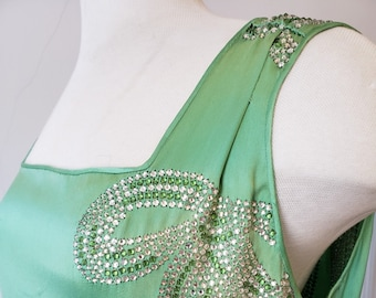 "1920s, 36"" bust, sleeveless jade green satin short gown"