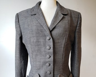 """1940s, 38"""" bust, black and gray small square wool tweed jacket."""