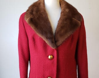 """1960s, 38"""" bust, wool red woven jacket"""