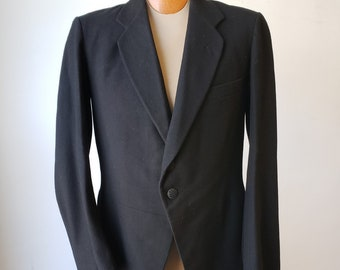"""1890s, 38"""" chest, black wool, single breasted frock coat."""