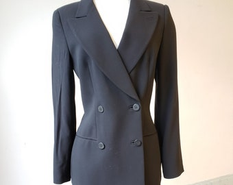 """1980s. 34"""" bust, black wool crepe woman's Armani double breasted suit"""