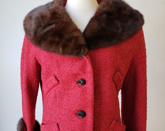 """1960s, 36"""" bust, red woven mohair jacket,"""