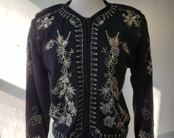 "1980s, 36"" bust, black mercerized cotton cardigan sweater"