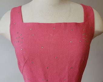 "1950s, 34"" bust, ""shocking"" pink linen sheath dress"