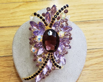 """1950s,   4"""" long and 2"""" wide, amethyst glass and pink rhinestone ornate brooch"""