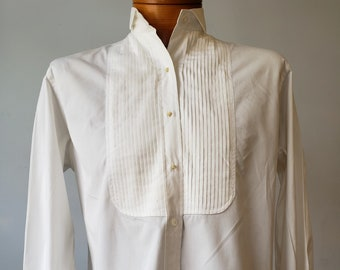 "1990s, 40"" bust, white cotton lady's dress shirt,"