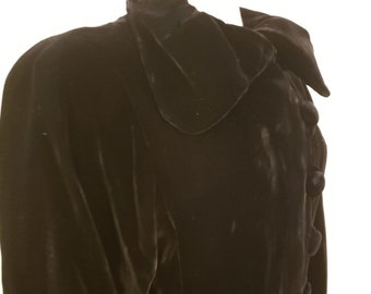 "1930s. 36"" bust, black velvet full length opera coat,"