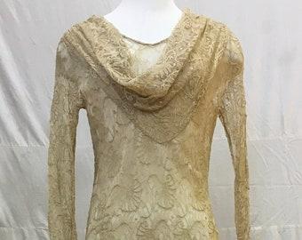 """1930s, 34"""" bust. Ecru colored silk lace bias cut gown"""